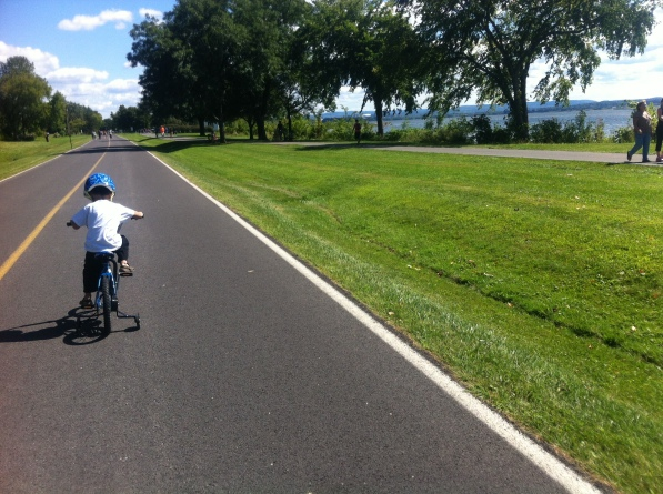 Cycling by Onondaga Lake