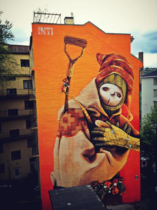 This one by Inti, a chilean street artist, transformed the whole side of a building to a great piece of art. at Jens Bjelkes Gate