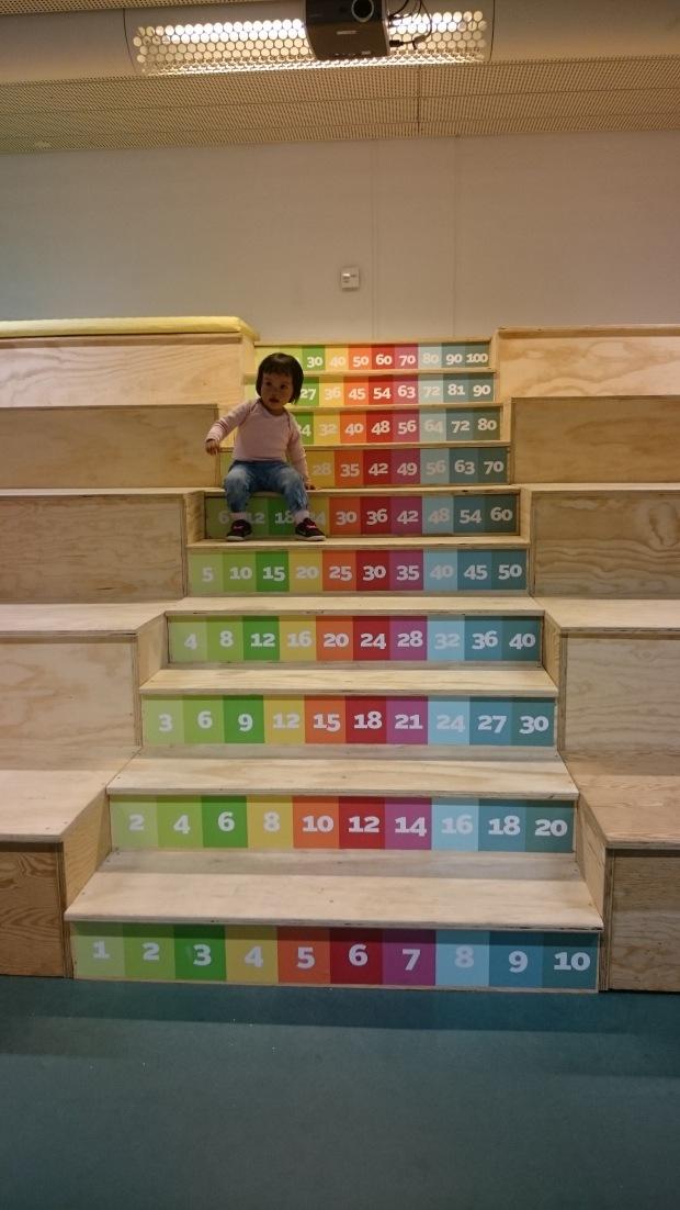 7) Bermain di tangga angka di Aalborg hovedbibliotek